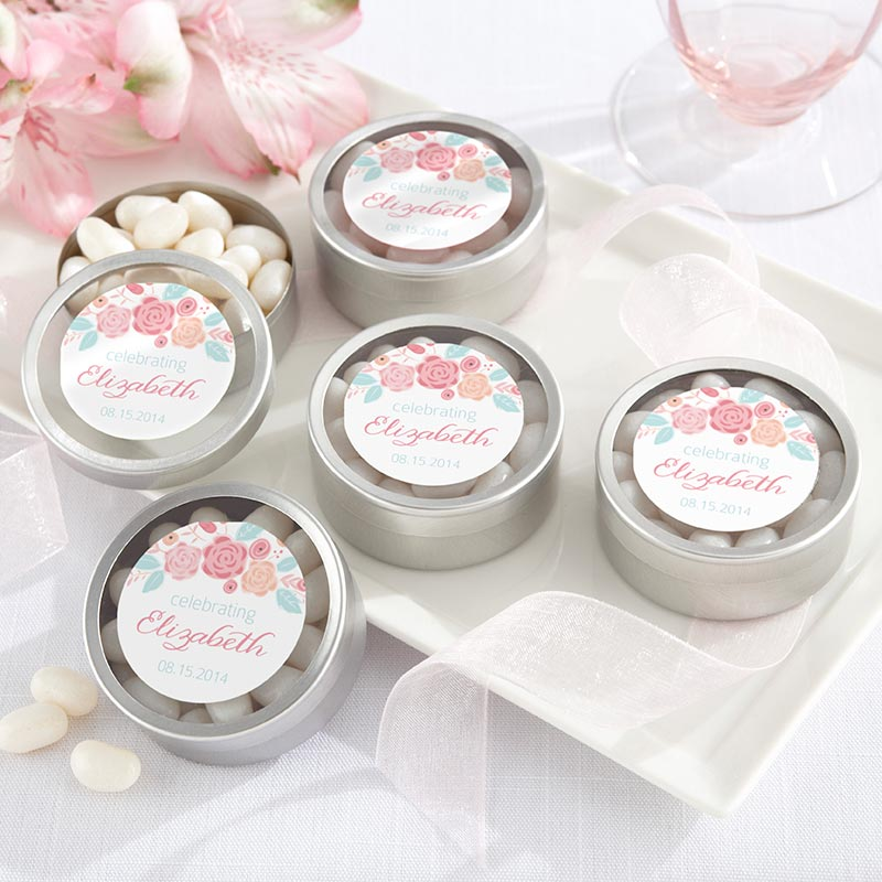 Personalized Rustic Vintage Bridal Silver Round Candy Tin (Set of 12)