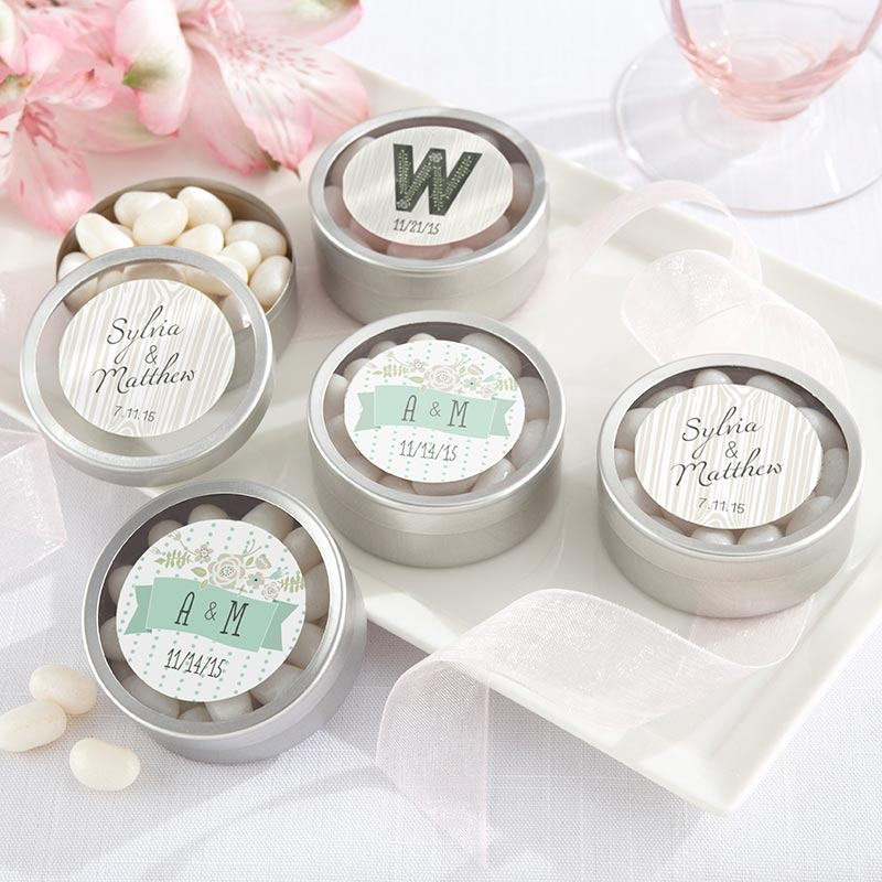 Personalized Rustic Wedding Silver Round Candy Tin (Set of 12)