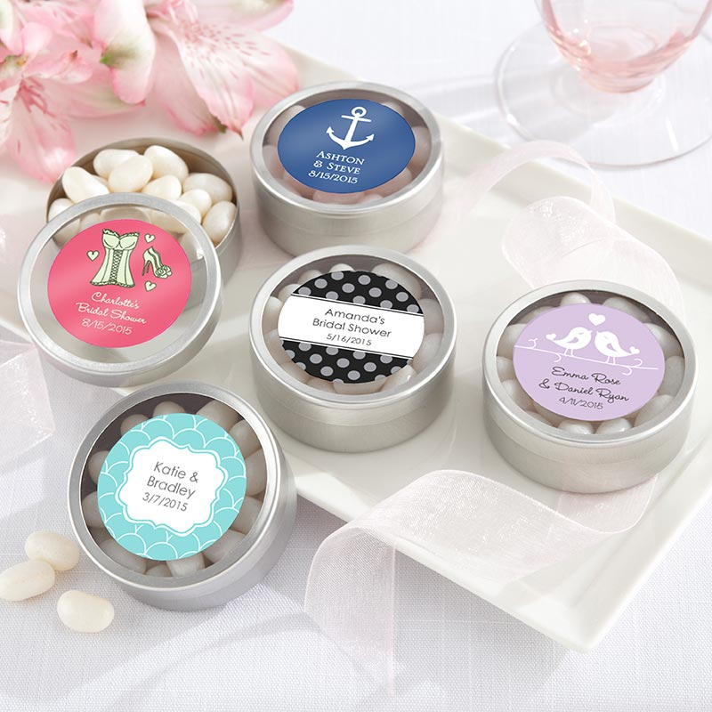 Personalized Wedding Round Candy Tin (Set of 12)