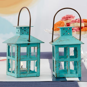 Load image into Gallery viewer, Vintage Blue Distressed Lantern - Small