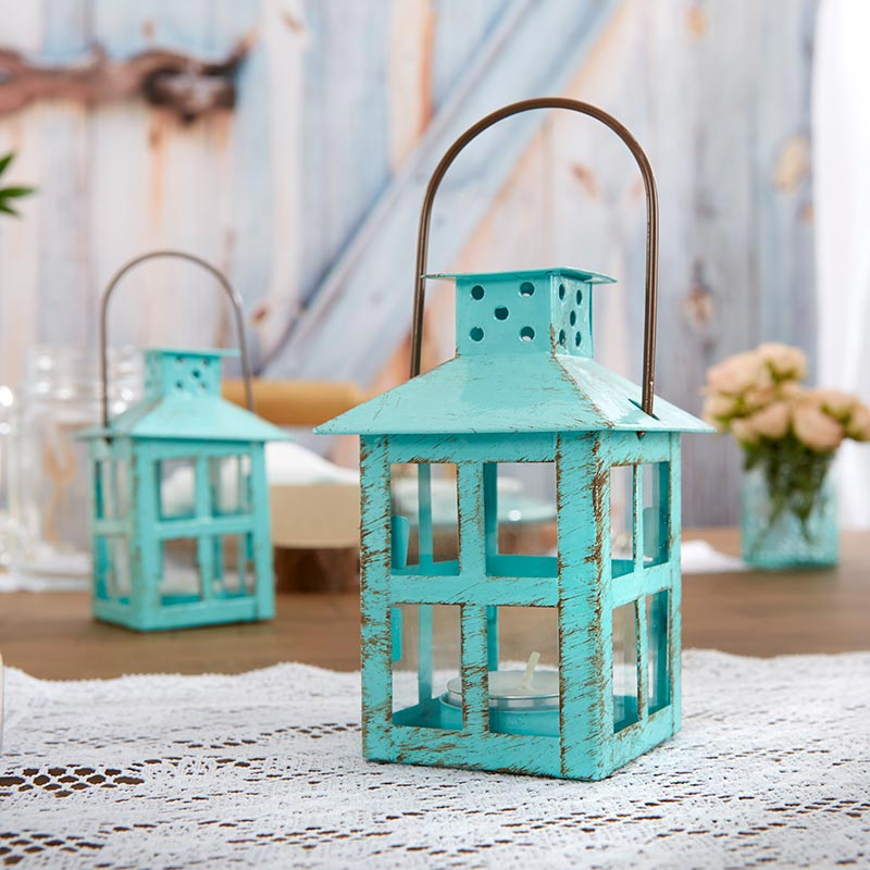 Vintage Blue Distressed Lantern - Small