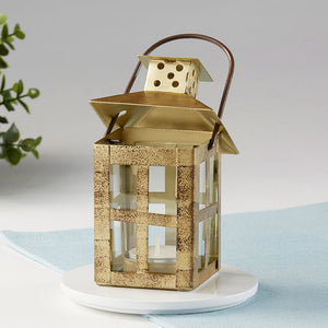 Vintage Antique Gold Distressed Lantern - Small