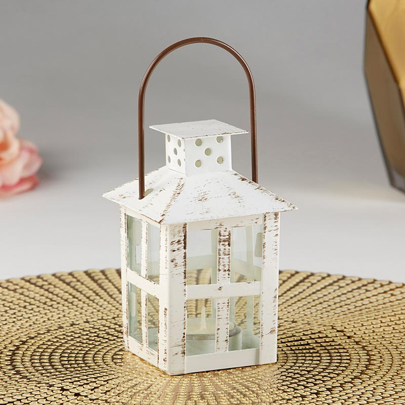 Vintage White Distressed Lantern - Small