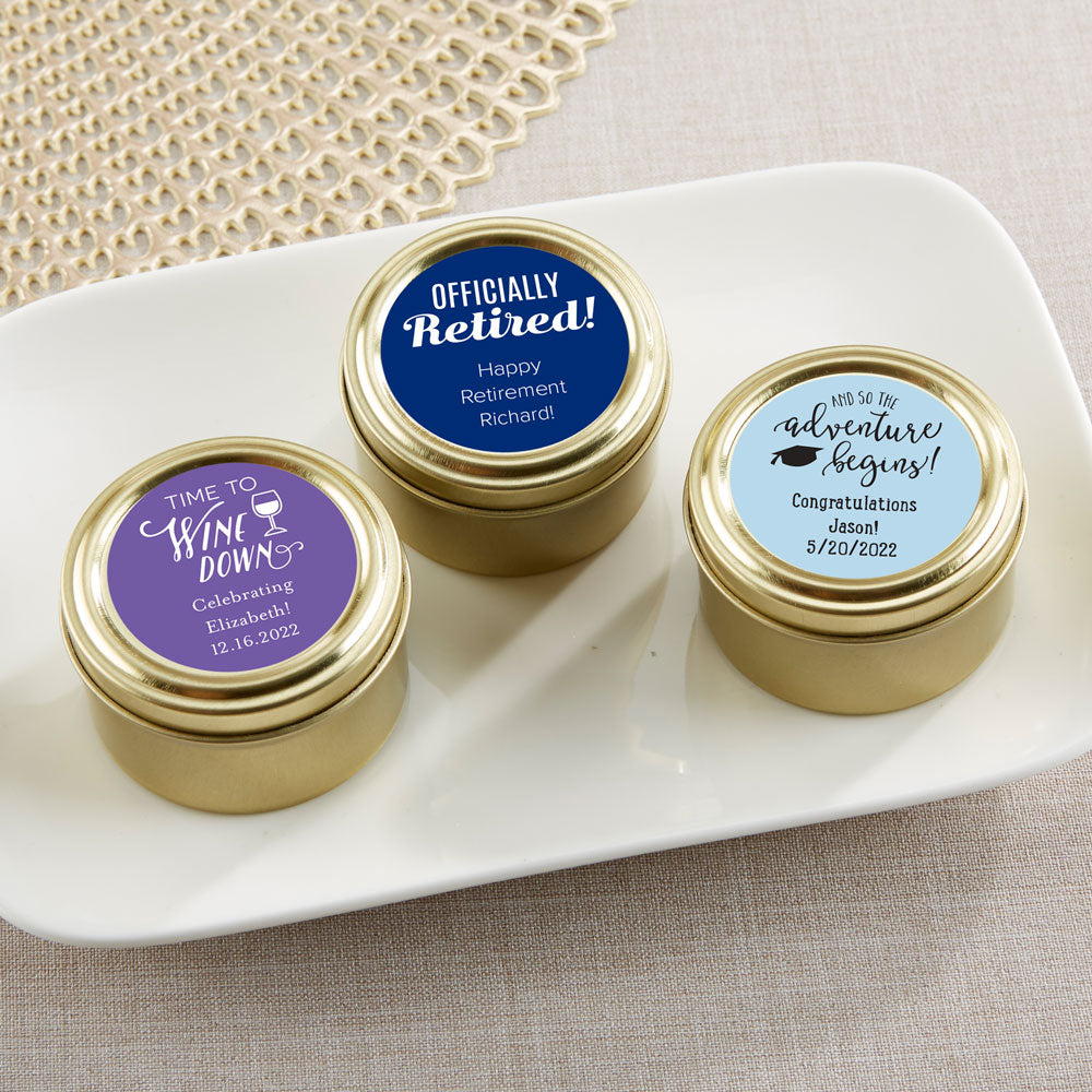 Personalized Celebration Gold Round Candy Tin (Set of 12)