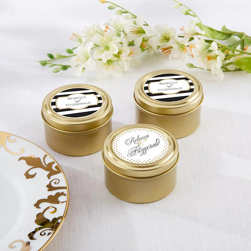Personalized Classic Gold Round Candy Tin (Set of 12)