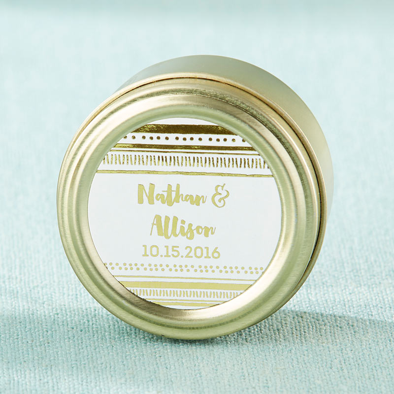 Personalized Gold Foil Gold Round Candy Tin (Set of 12)