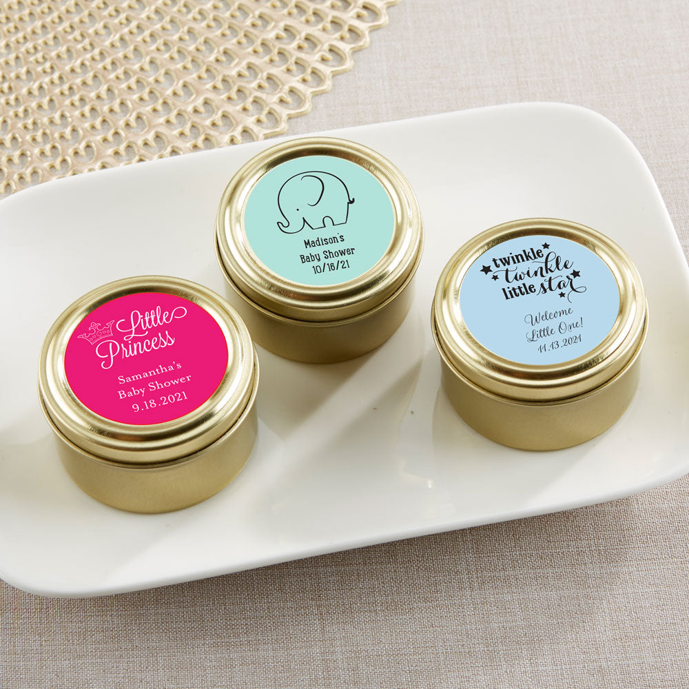Load image into Gallery viewer, Personalized Baby Shower Gold Round Candy Tin (Set of 12)