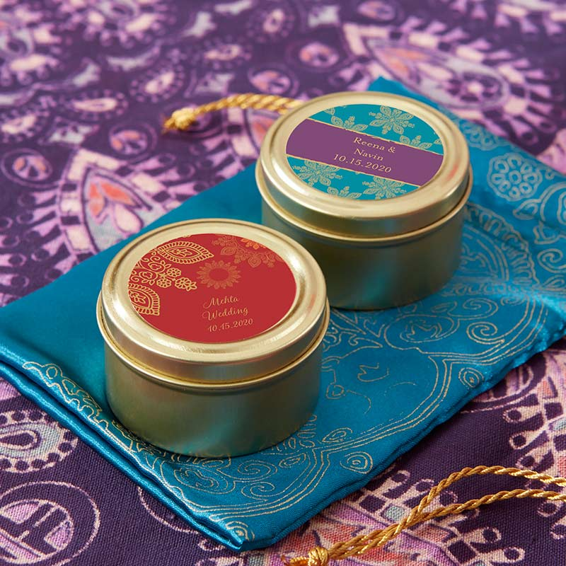 Personalized Indian Jewel Gold Round Candy Tin (Set of 12)