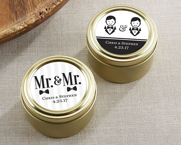 Personalized Mr. & Mr. Gold Round Candy Tin (Set of 12)