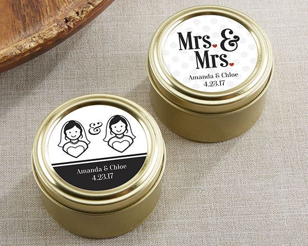 Personalized Mrs. and Mrs. Gold Round Candy Tins (Set of 12)