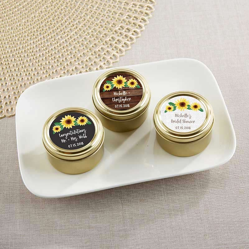 Personalized Sunflower Gold Round Candy Tin (Set of 12)