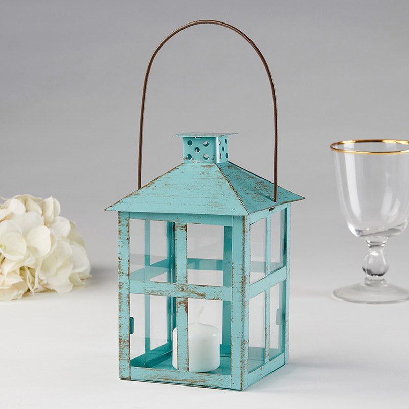 Vintage Blue Distressed Lantern Wedding Decoration