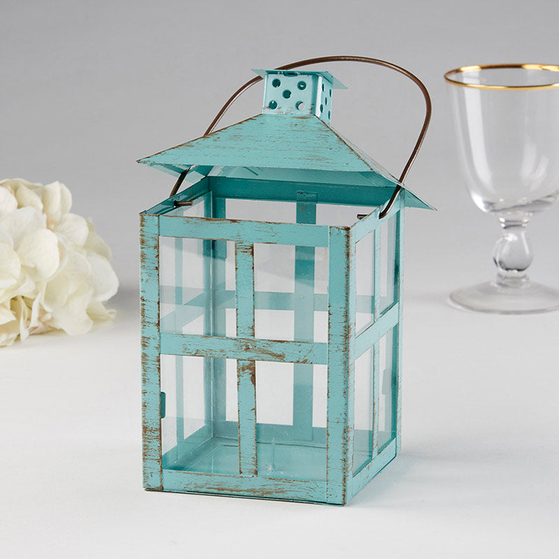 Load image into Gallery viewer, Vintage Blue Distressed Lantern - Large