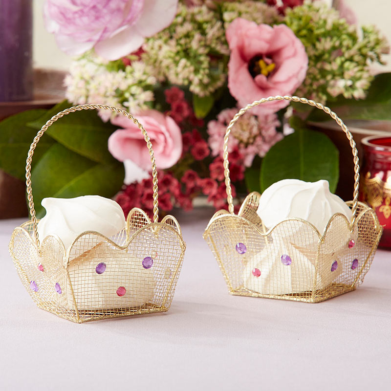 Indian Jewel Gold Wire Favor Basket with Jewel Details (Set of 6)