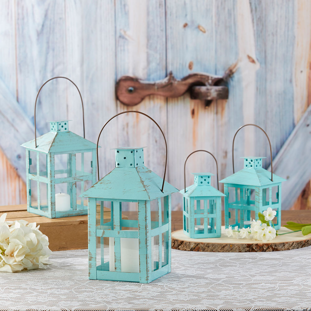 Load image into Gallery viewer, Vintage Blue Distressed Lantern - Extra Large