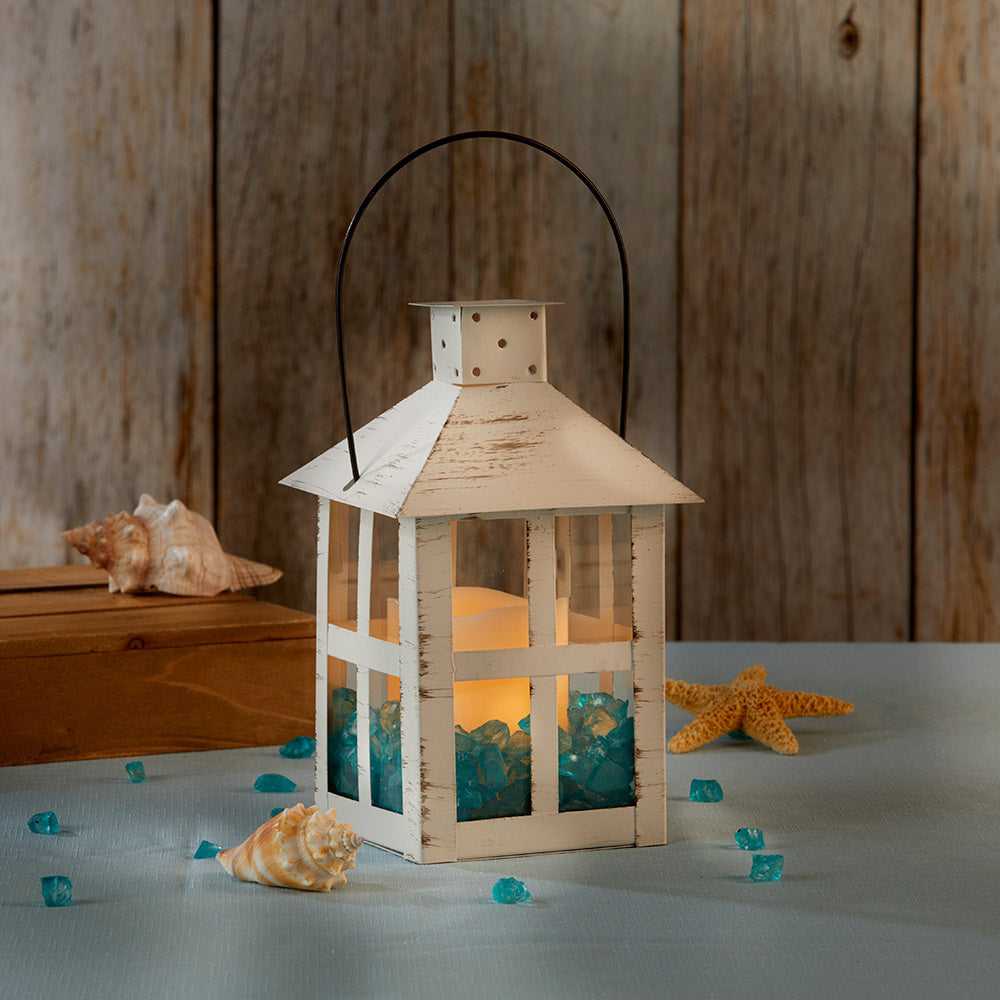 Vintage White Distressed Lantern - Extra Large