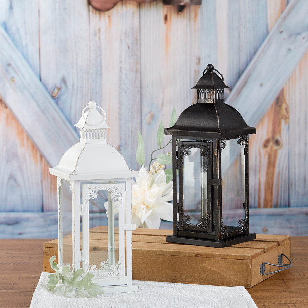 Antique White Ornate Lantern - Medium