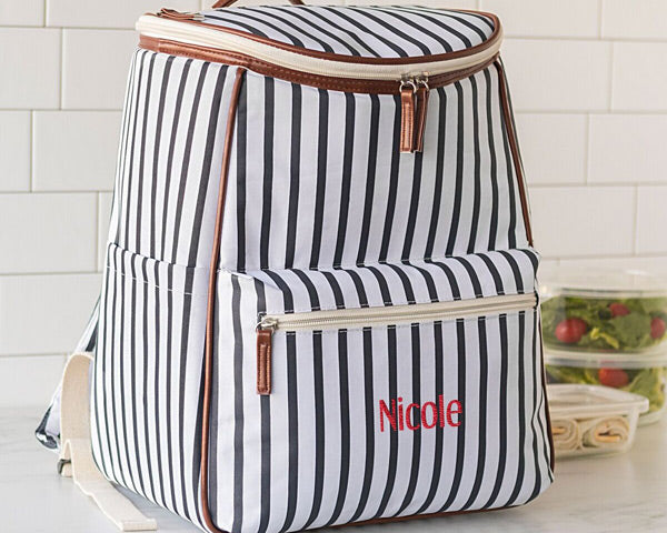 Personalized Striped Backpack Cooler