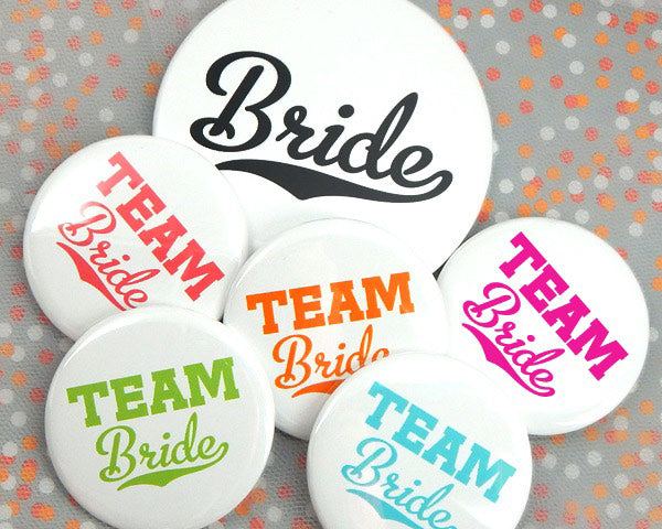 Team Bride Buttons (Set of 12)|Bachelorette Party|My Wedding Favors
