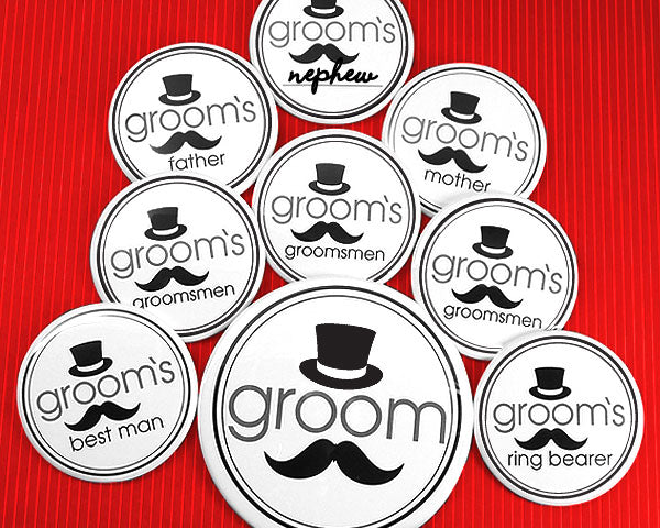 Groom's Bridal Party Buttons (Set of 12) | My Wedding Favors