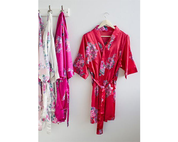 Personalized Floral Satin Spa Robe - Fuchsia