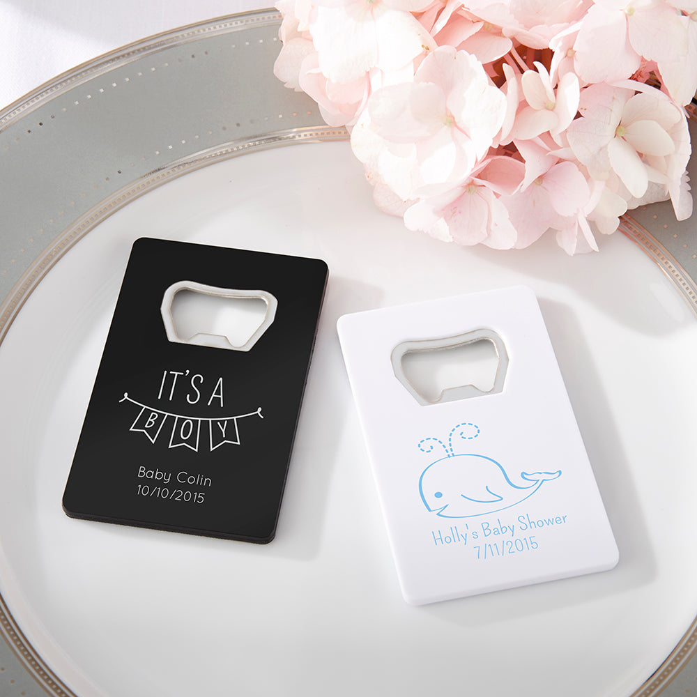 Personalized Baby Shower Credit Card Bottle Opener (Black or White)