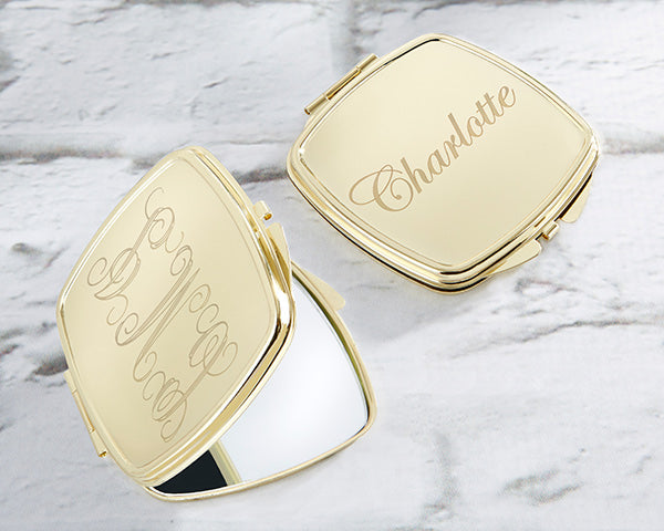 Personalized Engraved Gold Compact