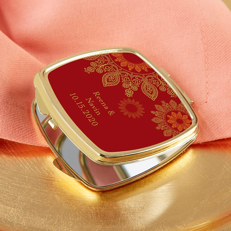 Personalized Indian Jewel Gold Compact
