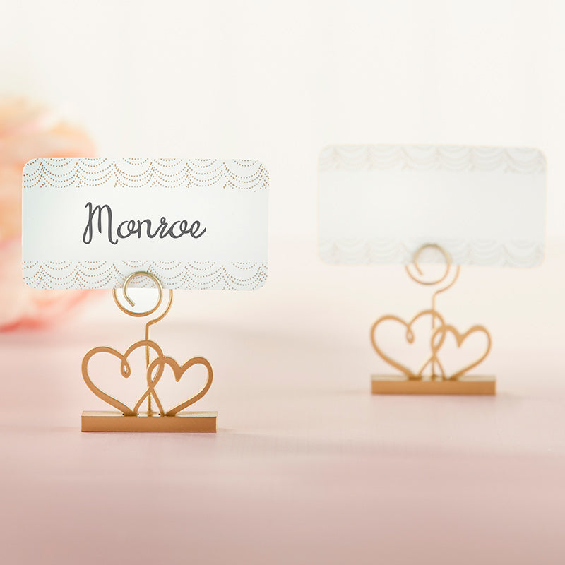 Gold Double Heart Place Card Holder (Set of 6)