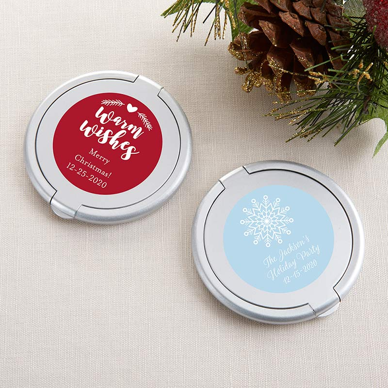 Personalized Holiday Silver Compact Mirror