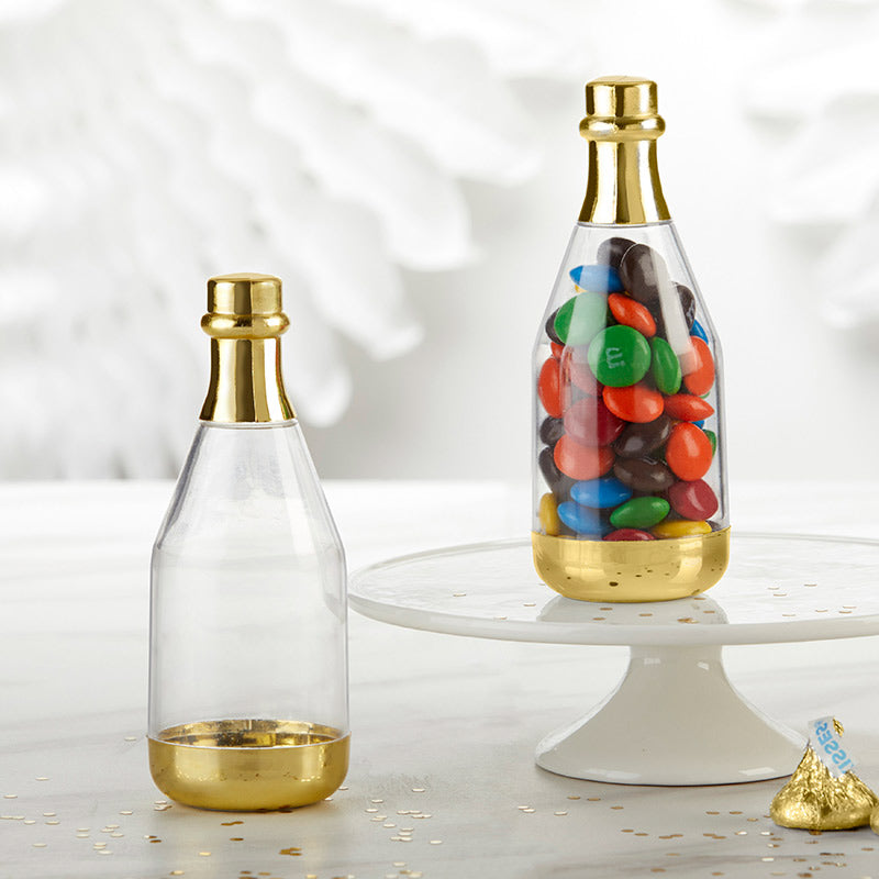 DIY Gold Metallic Champagne Bottle Favor Container (Set of 12)