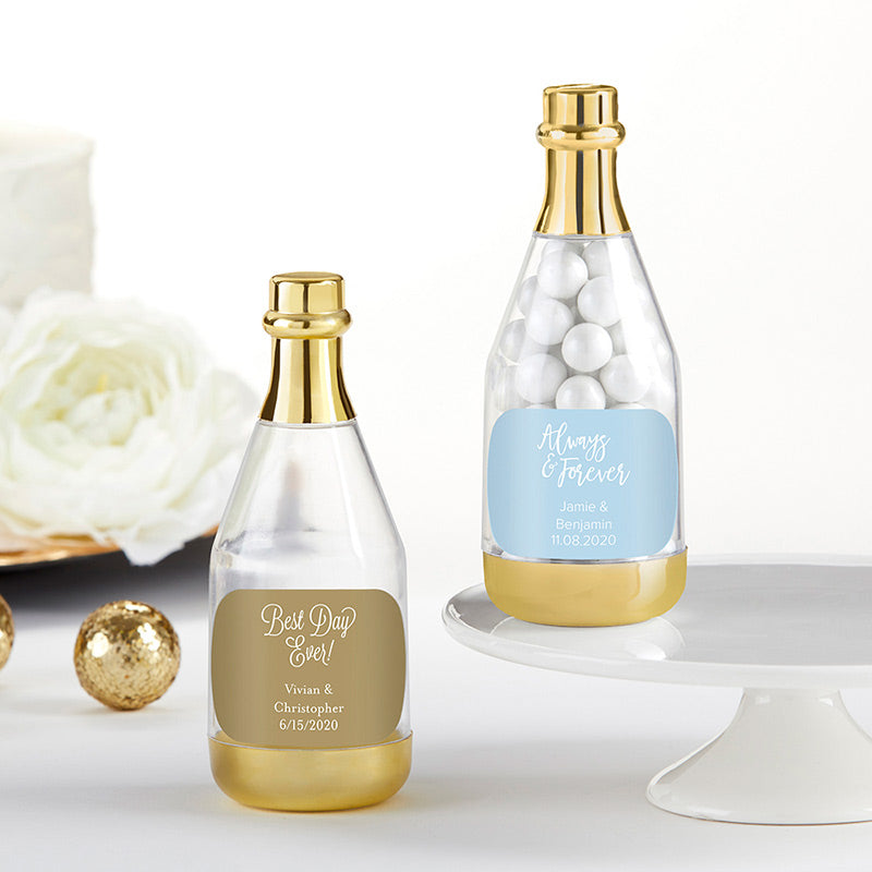 Personalized Wedding Gold Metallic Champagne Bottle Favor Container (Set of 12)