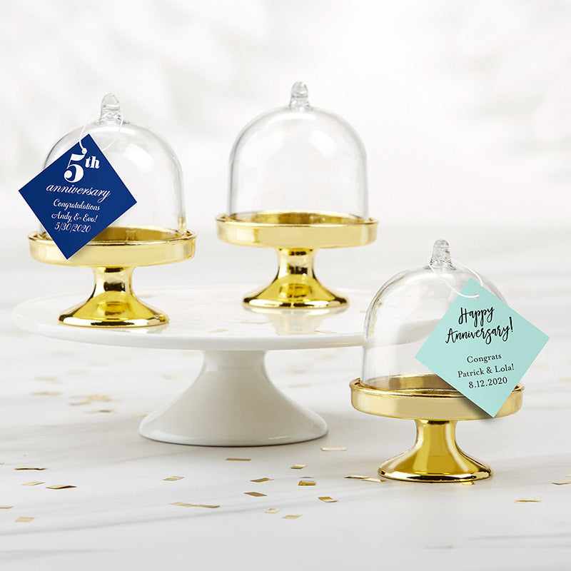 Personalized Anniversary Small Bell Jar with Gold Base (Set of 12)