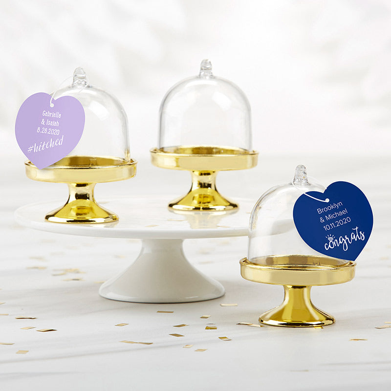 Personalized Wedding Small Bell Jar with Gold Base (Set of 12)