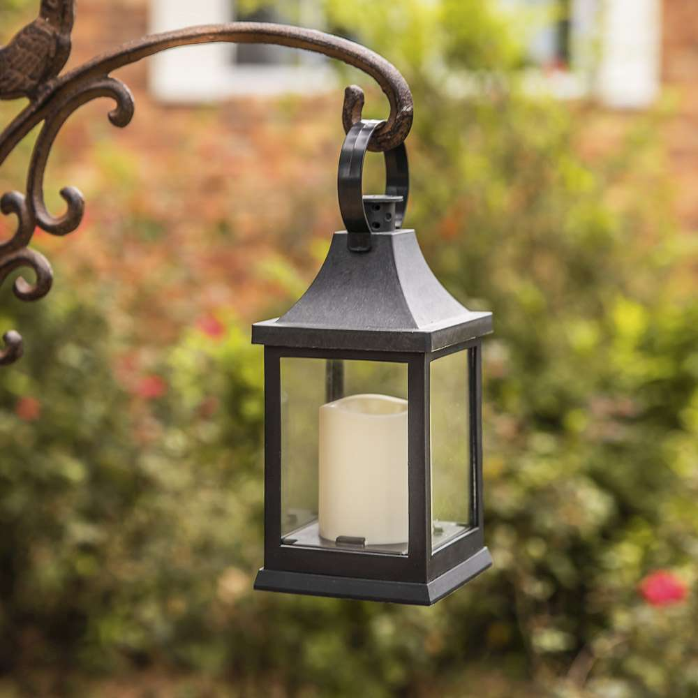 Shanghai LED Vintage Decorative Black Lantern (Set of 2)