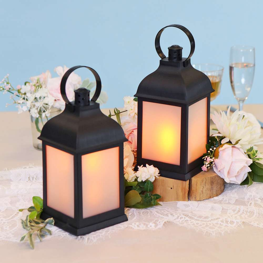 Marrakesh LED Vintage Decorative Black Lantern (Set of 2)