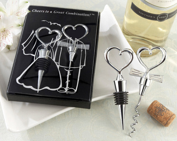 Heart Bottle Stopper and Corkscrew Wine Set