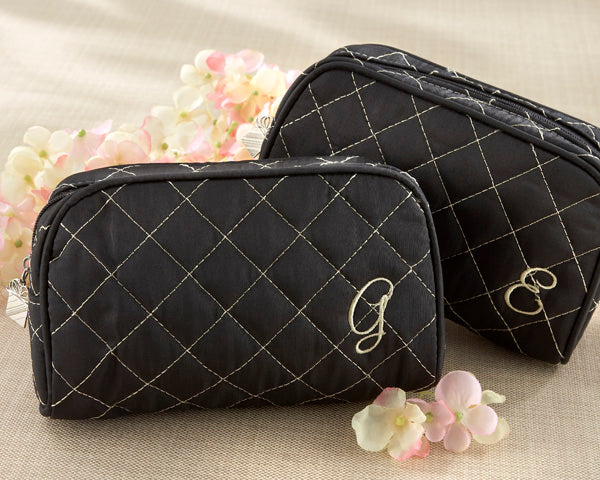 Cosmetic Couture Quilted, Monogrammed Make-Up Bag