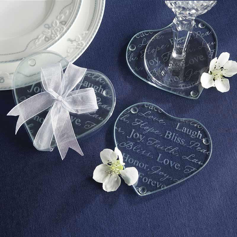 Good Wishes Heart Shaped Glass Coaster (Set of 2)