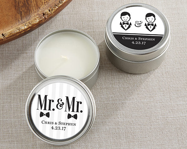 Personalized Mr. and Mr. Candle Favor Tins