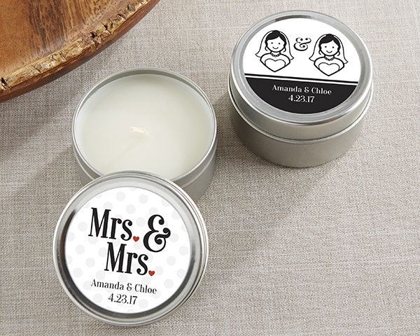 Personalized Mrs. and Mrs. Candle Favor Tins