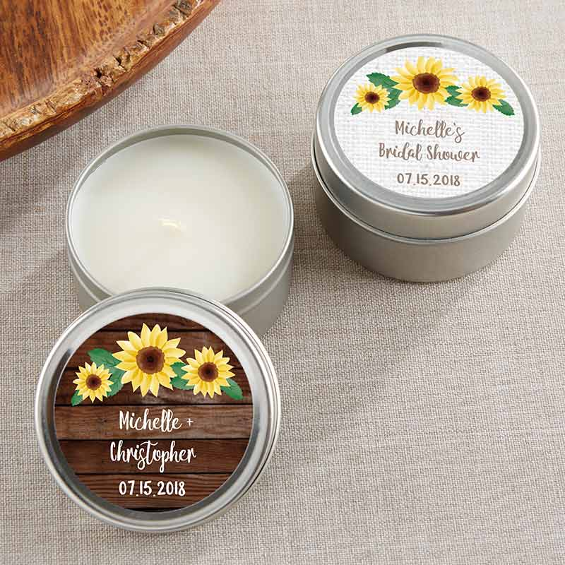 Personalized Sunflower Travel Candle Tin