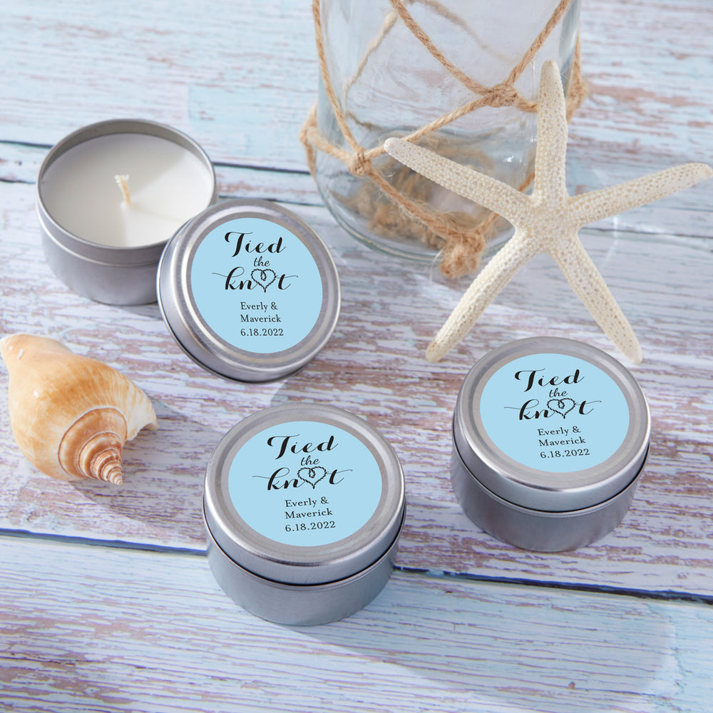 Personalized Wedding Travel Candle Tin