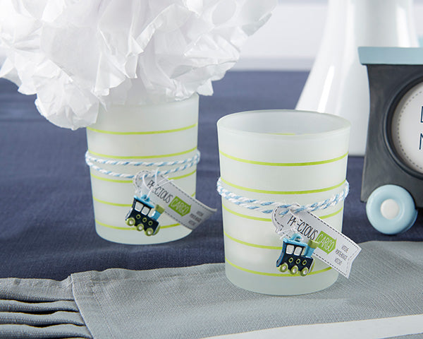 Precious Cargo Frosted Glass Tea Light Holder With Train Charm (Set of 4)