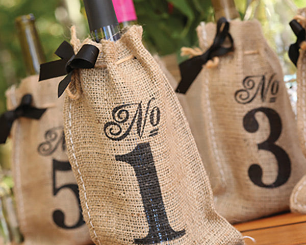 Printed Burlap Table Number Wine Bags (1-10)