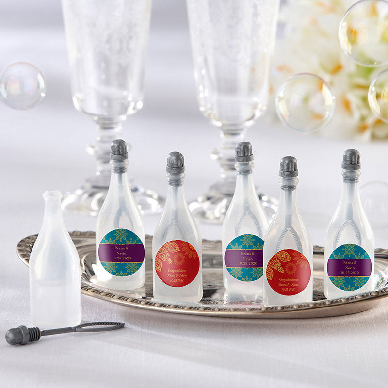 Personalized Indian Jewel Bubble Bottles (Set of 24)