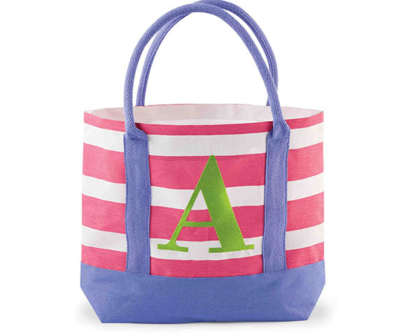 Colorful Jute Initial Tote Bag
