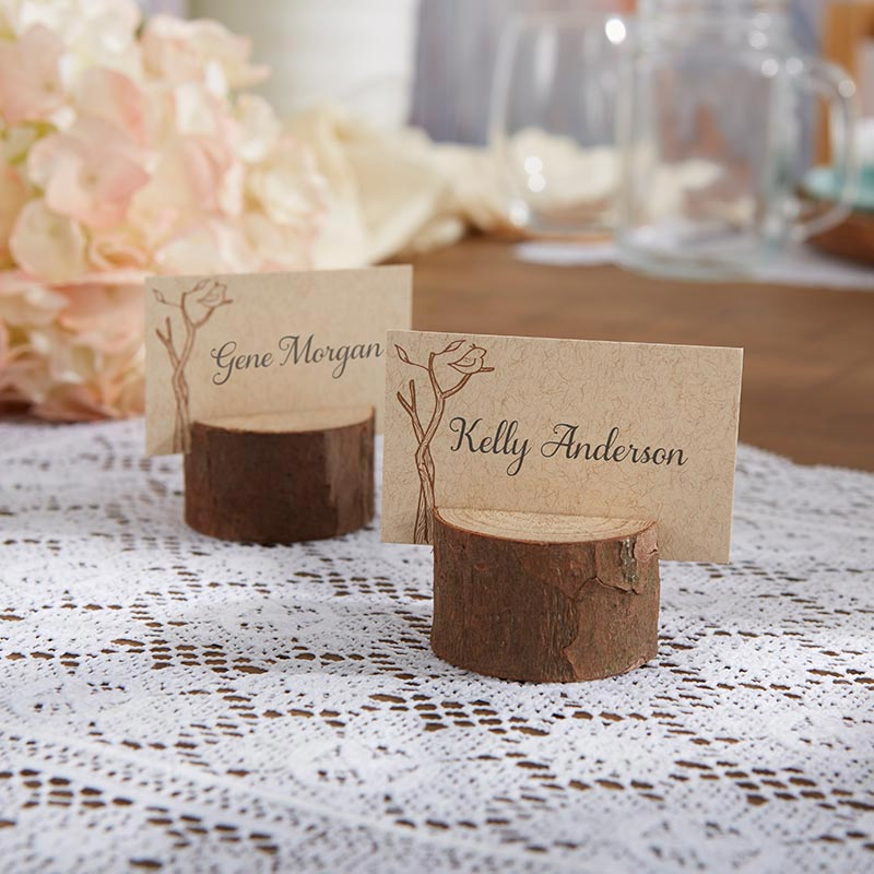 Rustic Wood Place Card Holder (Set of 4)