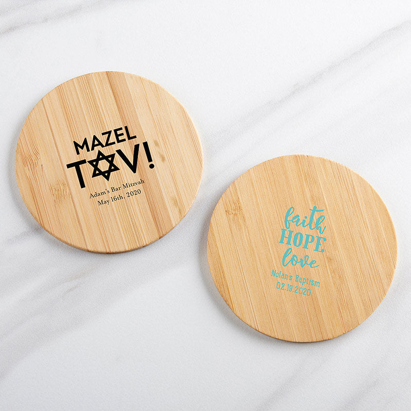 Personalized Religious Wood Round Coaster (Set of 12)