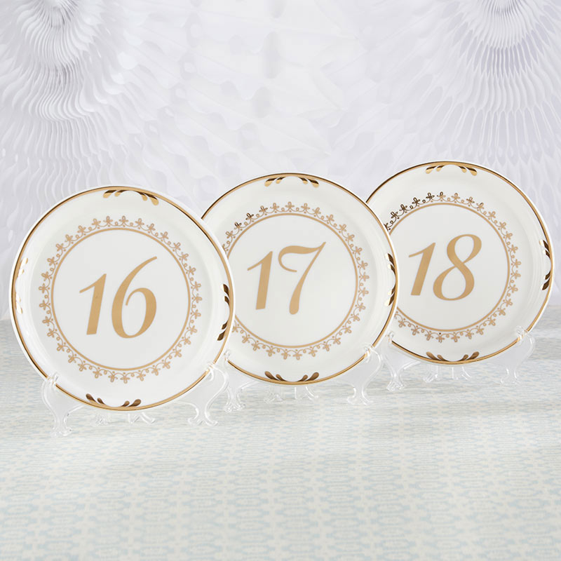 Tea Time Vintage Plate Table Numbers (13-18)